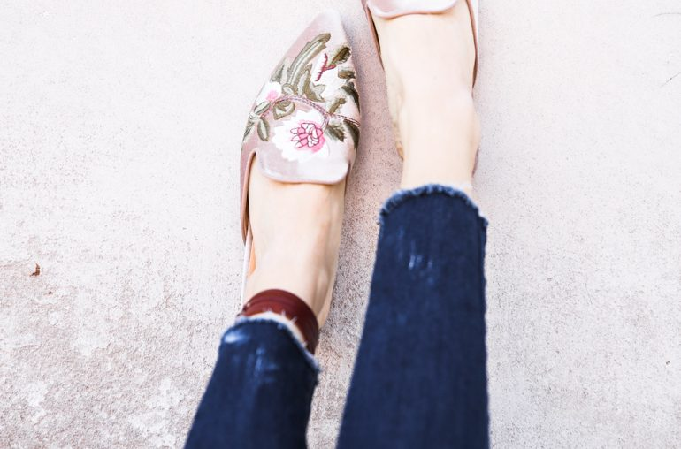 how to distress the hem on your jeans + the most amazing embroidered mules