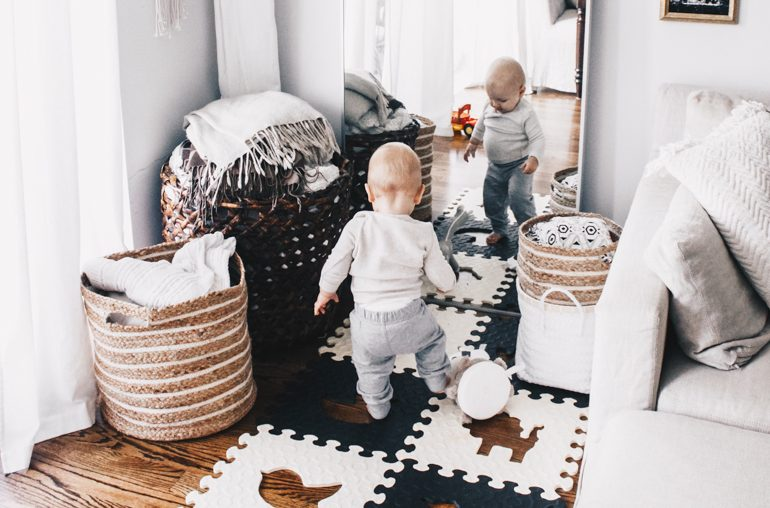 create a baby play area that blends in with your living room