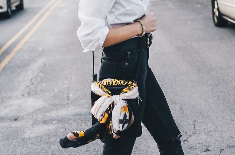 3 cool ways to style a silk scarf