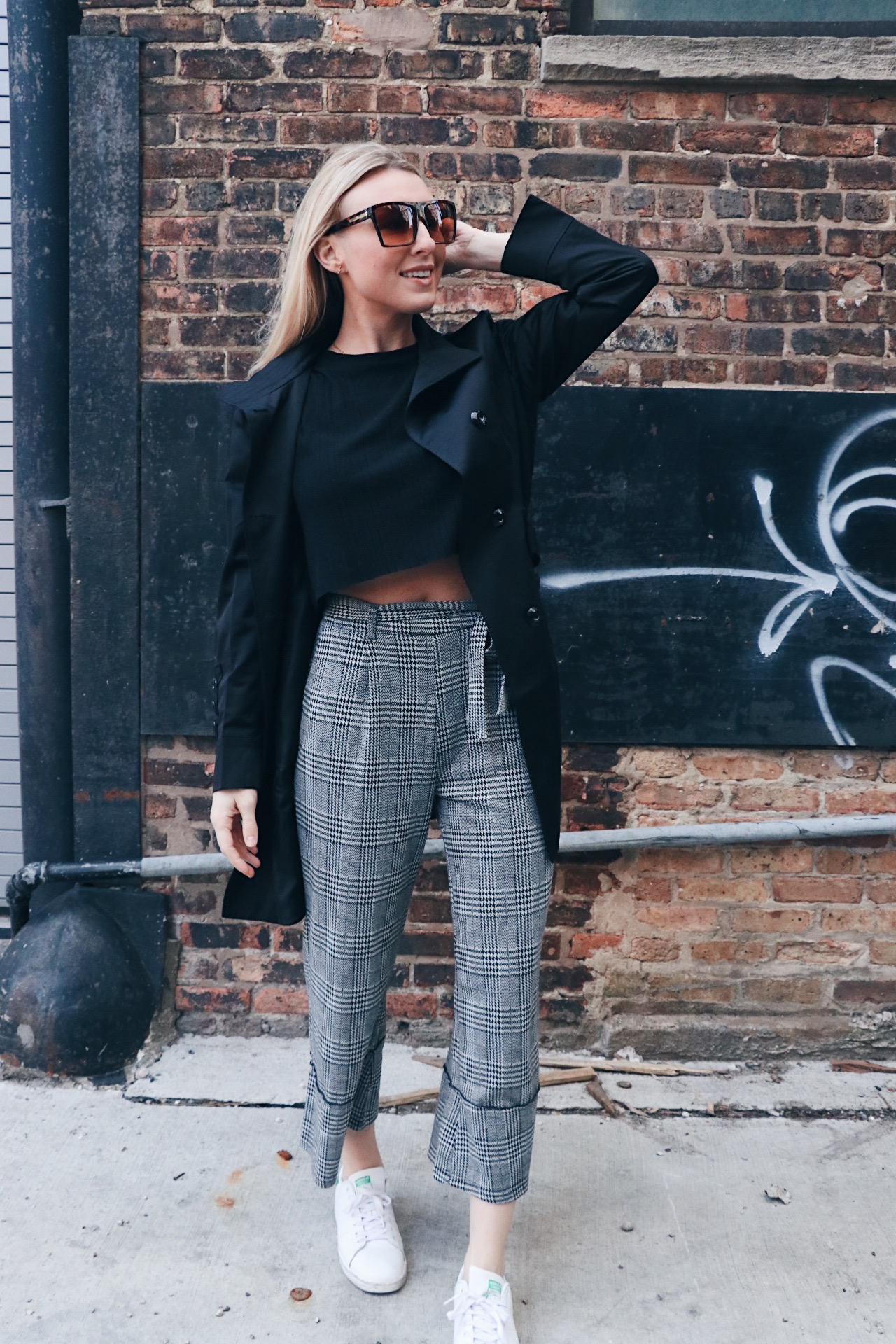 84036805 Pants are from Nasty Gal and on sale for $20 | Adidas Stan Smith sneakers |  black crop top is old but similar shirt here | Sunglasses are Amazon and  only ...