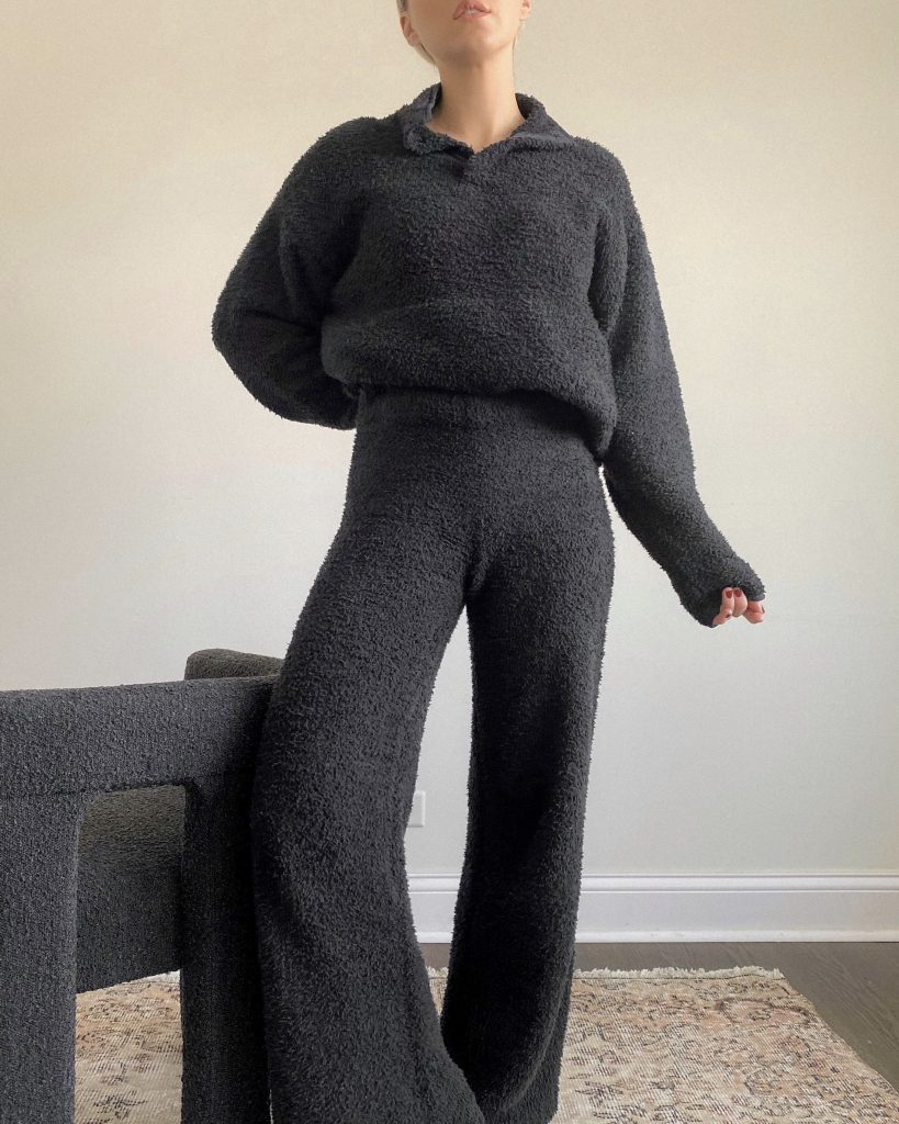 skims cozy set in black on blogger meg mcmillin